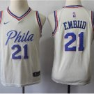 Youth 76ers #21 Joel Embiid basketball jersey Beige  NEW