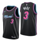 Men's Miami Heat 3 Authentic Wade Basketball Jersey Black