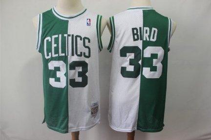 2fb37267 Boston Celtics 33# Larry Bird Basketball Jersey Green-White New