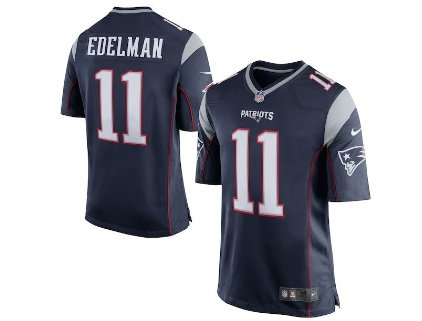 b9ad22ff5f0 Men s New England Patriots 11  Julian Edelman Navy Blue Alternate Game  Jersey