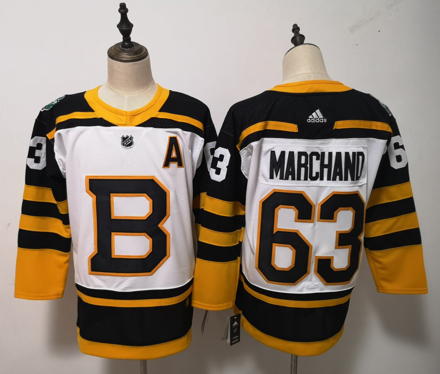a23af3e018d9 Mens Boston Bruins 63  Brad Marchand Yellow White Jersey