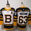 Mens Boston Bruins 63# Brad Marchand Yellow White Jersey