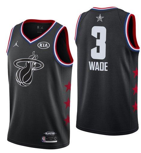 Men's 2019 Heat 3# Dwyane Wade All-Star Game Basketball Jersey Black