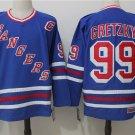 Mens New York Rangers 99# Wayne Gretzky Ice Hockey Jersey Blue