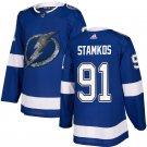 Mens Tampa Bay Lightning 91# Steve Stamkos Ice Hockey Jersey Blue