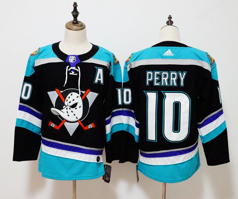 Mens Anaheim Ducks 10# Corey Perry Ice Hockey Jersey Black