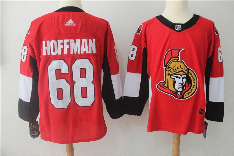 Mens Ottawa Senators 68# Mike Hoffman Ice Hockey Jersey Red
