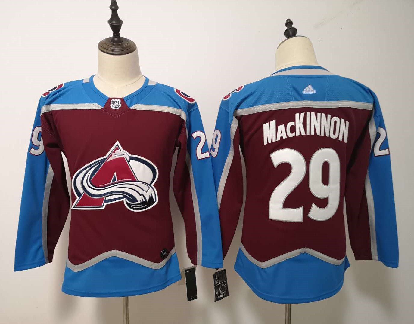 Womens Colorado Avalanche 29# Nathan MacKinnon Ice Hockey Jersey Red