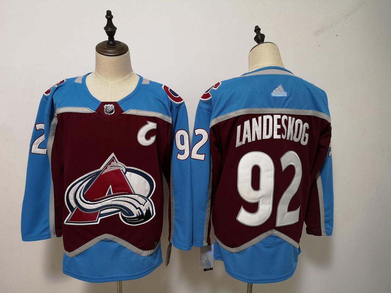 Mens Colorado Avalanche 92# Gabriel Landeskog Ice Hockey Jersey Red