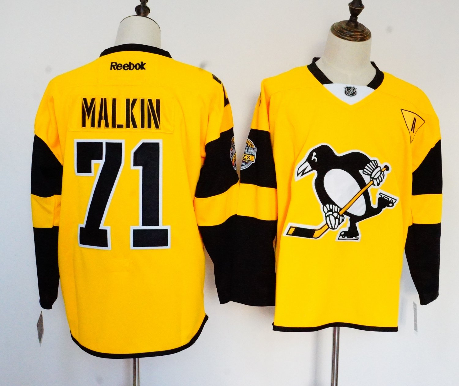 Mens Pittsburgh Penguins 71# Evgeni Malkin Ice Hockey Jersey Yellow