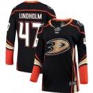 Mens Hampus Lindholm 47# Anaheim Ducks Ice Hockey Stitched Jersey Black