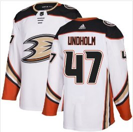 Mens Hampus Lindholm 47# Anaheim Ducks Ice Hockey Stitched Jersey White