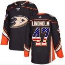 Men's Hampus Lindholm Black NHL Jersey #47 Anaheim Ducks USA Flag Fashion