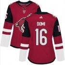 Womens Max Domi 16# Arizona Coyotes Ice Hockey Stitched Jersey Red