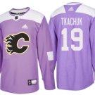 Mens Matthew Tkachuk 19# Calgary Flames Ice Hockey Stitched Jersey Purple
