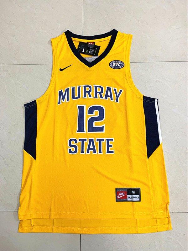 Mens Ja Morant 12# Murray State College Yellow Jersey NCAA