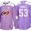 Mens Jeff Skinner 53# Carolina Hurricanes Ice Hockey Stitched Jersey Purple