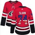 Womens Jaccob Slavin 74# Carolina Hurricanes Ice Hockey Stitched Jersey Red