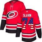 Mens Jaccob Slavin 74# Carolina Hurricanes Ice Hockey Stitched Jersey Red