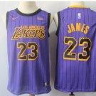 Youth Lakers 23 LeBron James Basketball Player Jersey Purple Stripe new
