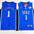 Youth Duke Blue Devils 1# Zion Williamson Basketball NCAA Jersey Blue