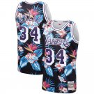 Men's Lakers 34 Shaquille O'Neal Jersey Black Mitchell & Ness Floral Fashion