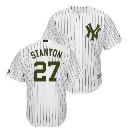 Men's New York Yankees #27 Giancarlo Stanton White Home Memorial Day Jersey