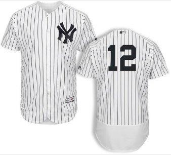 Men's New York Yankees #12 Troy Tulowitzki white home Flex Base Jersey - blank