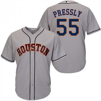 Men's Ryan Pressly #55 Houston Astros Gray Cool Base Away Jersey