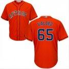 Youth Houston Astros #65 Framber Valdez orange alternate cool base jersey