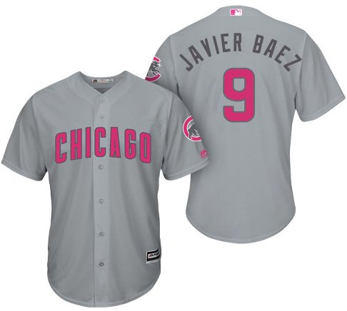 Men's Chicago Cubs Javier Baez Gray cool base Mother's Day Jersey