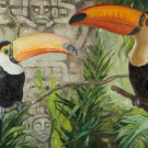 Toucans and Aztecs Original Oil painting Handmade