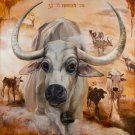 Nandi. Mahadev. Sacred Cow. Original Oil Painting Handmade