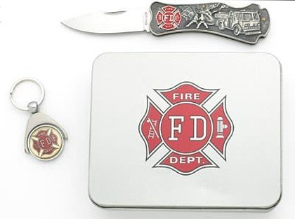 SKFDTIN/00: Maxam Fire Fighter Lockback Knife and Key Ring Set