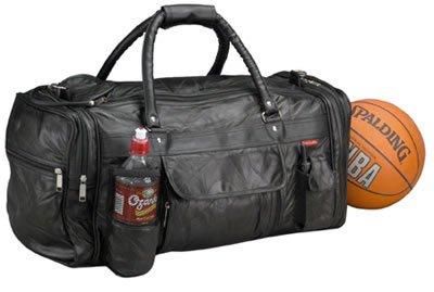 LULGYM/00: EMBASSY Genuine Sewn Leather Gym Travel Bag
