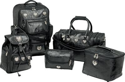 LUBRT5/00: SALE-EMBASSY Genuine Sewn Leather Alligator Design Grain Luggage Set - 5 pc