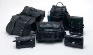 LUMSET: SALE-DIAMOND PLATE ROCK 7pc Leather Motorcycle Luggage Set