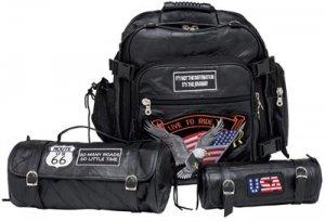 LUMCBP2/00: Diamond Plate Buffalo Sewn Leather Motorcycle Luggage Set-3 pc.