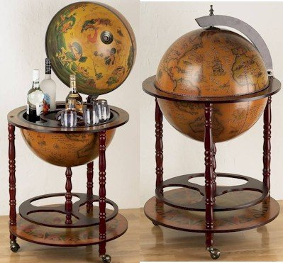 "HHGLB450/00: SALE-Kassel 17 1/2"" Diameter World Globe with Built-In Bar"