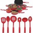 KTAL16/00: SALE-Chef's Secret 16 pc Retro Red Aluminum Cookware Set