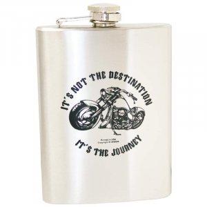 KTFLASK8BD/00: Wholesale Maxam Stainless Steal Biker's Flask - 8 oz.