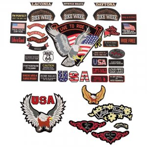 GFPATCH41/00: Wholesale Diamond Plate� 40pc Embroidered Motorcycle Patches