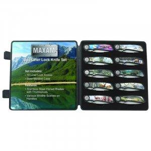 SKWILD/00: Maxam 11 pc Knife Set With Wildlife Scenes In Case