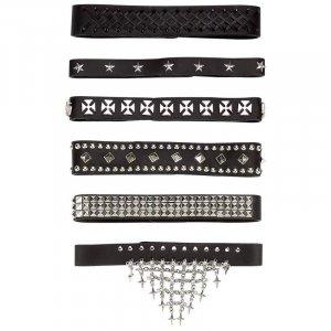 GFCHK6/00: Wholesale Diamond Plate� 6pc Genuine Leather Choker Set
