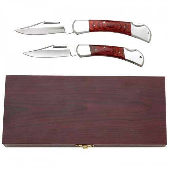 SKCLASSIC/00: Maxam® 2pc Lockback Knife Set in Wooden Box