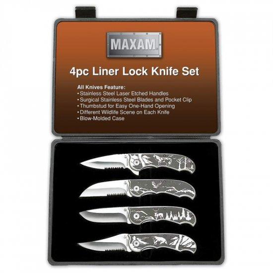 SKMX48/00:  Maxam 4 pc Outdoorsman Knife Set  -Wildlife Scenes
