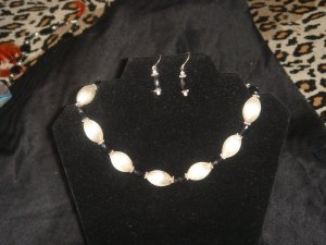Sterling silver and Black onyx necklace & earrings