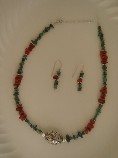 Turquoise & red Coral, sterling silver, necklace