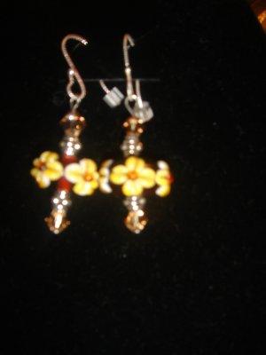 Lampwork beads earrings with swarovski crystals