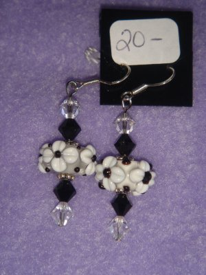 Black and white lampwork earrings with Swarovski crystals